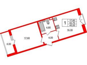Квартира в ЖК Квартал Che, 1 комнатная, 45 м², 4 этаж