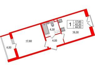 Квартира в ЖК Квартал Che, 1 комнатная, 44.5 м², 5 этаж