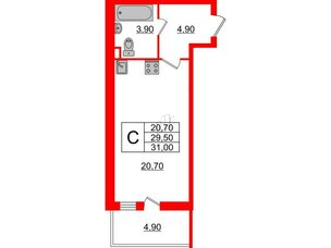 Квартира в ЖК Квартал Che, студия, 31 м², 4 этаж