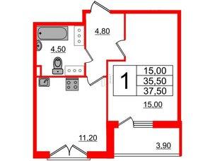 Квартира в ЖК Квартал Che, 1 комнатная, 37.5 м², 7 этаж