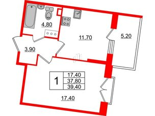 Квартира в ЖК Квартал Che, 1 комнатная, 39.4 м², 4 этаж