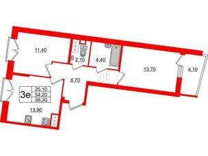 Квартира в ЖК Квартал Che, 2 комнатная, 56.3 м², 5 этаж