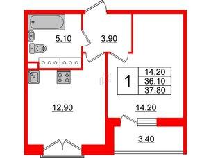 Квартира в ЖК Квартал Che, 1 комнатная, 37.8 м², 4 этаж