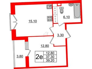 Квартира в ЖК Квартал Che, 1 комнатная, 39.2 м², 4 этаж