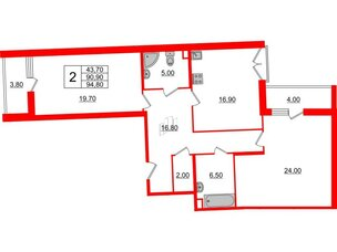 Квартира в ЖК Квартал Che, 2 комнатная, 94.8 м², 2 этаж