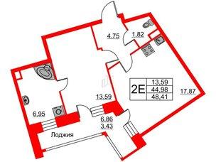Квартира в ЖК Ariosto!, 1 комнатная, 48.41 м², 2 этаж