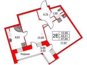 Квартира в ЖК Ariosto!, 1 комнатная, 47.84 м², 4 этаж