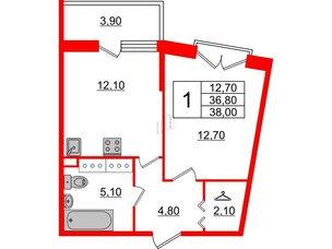 Квартира в ЖК Квартал Che, 1 комнатная, 38 м², 5 этаж