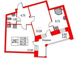 Квартира в ЖК Ariosto!, 1 комнатная, 48.2 м², 2 этаж