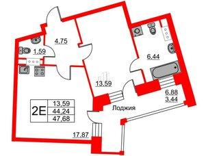 Квартира в ЖК Ariosto!, 1 комнатная, 47.68 м², 3 этаж