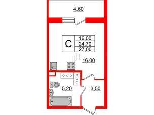 Квартира в ЖК Квартал Che, студия, 27 м², 5 этаж