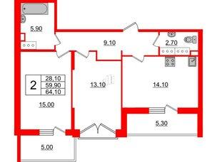 Квартира в ЖК Квартал Che, 2 комнатная, 64.1 м², 2 этаж