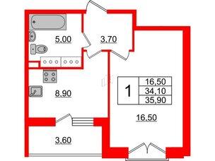 Квартира в ЖК Квартал Che, 1 комнатная, 35.9 м², 5 этаж