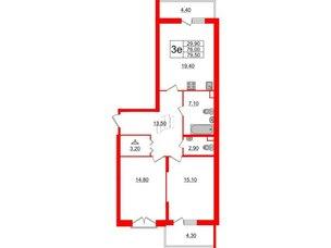 Квартира в ЖК Квартал Che, 2 комнатная, 79.5 м², 2 этаж