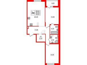 Квартира в ЖК «Черная Речка», 2 комнатная, 76.19 м², 10 этаж