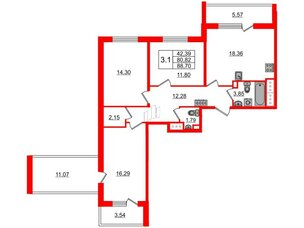Квартира в ЖК «Чистое небо», 3 комнатная, 80.82 м², 8 этаж