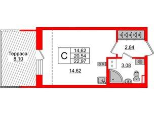Квартира в ЖК Зеленый квартал на Пулковских высотах, студия, 20.54 м², 5 этаж