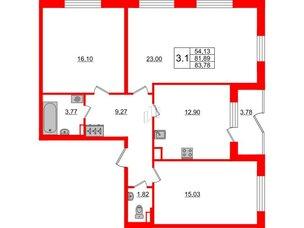 Квартира в ЖК Зеленый квартал на Пулковских высотах, 3 комнатная, 81.89 м², 1 этаж