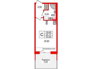 Квартира в ЖК Зеленый квартал на Пулковских высотах, студия, 21.17 м², 5 этаж