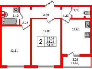 Квартира в ЖК Цветной город, 2 комнатная, 55.7 м², 2 этаж