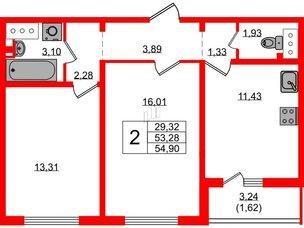 Квартира в ЖК Цветной город, 2 комнатная, 54.4 м², 3 этаж