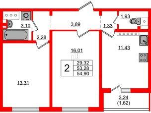 Квартира в ЖК Цветной город, 2 комнатная, 55 м², 24 этаж