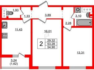 Квартира в ЖК Цветной город, 2 комнатная, 54.5 м², 2 этаж
