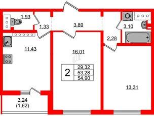 Квартира в ЖК Цветной город, 2 комнатная, 54.9 м², 25 этаж