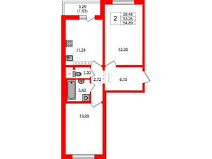 Квартира в ЖК Цветной город, 2 комнатная, 54.7 м², 21 этаж