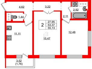 Квартира в ЖК Цветной город, 2 комнатная, 55.8 м², 13 этаж