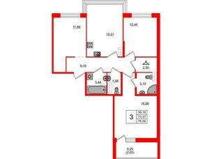 Квартира в ЖК ID Кудрово, 3 комнатная, 76.02 м², 3 этаж