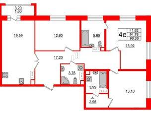 Квартира в ЖК Модум, 3 комнатная, 96.36 м², 12 этаж