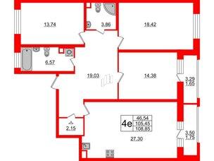 Квартира в ЖК Модум, 3 комнатная, 108.85 м², 2 этаж