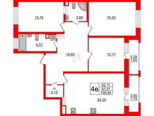Квартира в ЖК Модум, 3 комнатная, 100.92 м², 3 этаж