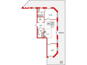 Квартира в ЖК Альтер, 2 комнатная, 98.33 м², 2 этаж