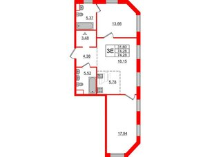 Квартира в ЖК Альтер, 2 комнатная, 74.28 м², 3 этаж