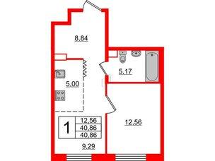 Квартира в ЖК Альтер, 1 комнатная, 40.86 м², 3 этаж
