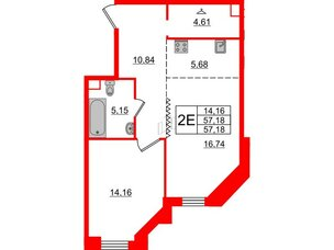 Квартира в ЖК Альтер, 1 комнатная, 57.18 м², 7 этаж