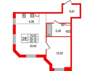 Квартира в ЖК Альтер, 1 комнатная, 56.18 м², 4 этаж