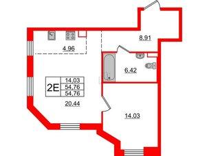 Квартира в ЖК Альтер, 1 комнатная, 54.76 м², 12 этаж