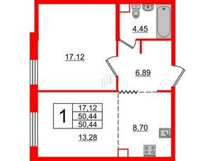 Квартира в ЖК Альтер, 1 комнатная, 50.44 м², 5 этаж
