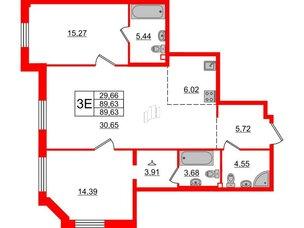 Квартира в ЖК Альтер, 2 комнатная, 89.63 м², 2 этаж