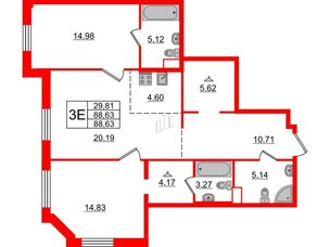Квартира в ЖК Альтер, 2 комнатная, 88.63 м², 3 этаж