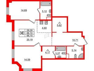 Квартира в ЖК Альтер, 2 комнатная, 88.1 м², 7 этаж