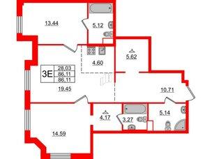 Квартира в ЖК Альтер, 2 комнатная, 86.11 м², 9 этаж