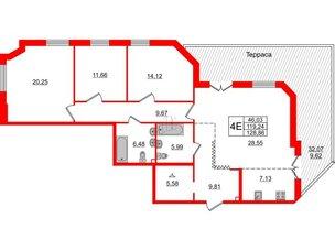 Квартира в ЖК Альтер, 3 комнатная, 128.86 м², 2 этаж