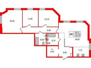 Квартира в ЖК Альтер, 3 комнатная, 118.79 м², 3 этаж
