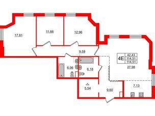 Квартира в ЖК Альтер, 3 комнатная, 114.51 м², 8 этаж