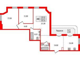 Квартира в ЖК Альтер, 2 комнатная, 94.5 м², 12 этаж