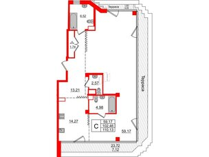Квартира в ЖК Альтер, студия, 109.58 м², 11 этаж